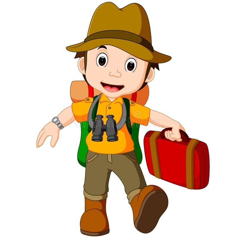 Viajero de la historieta con una mochila grande ilustración del vector