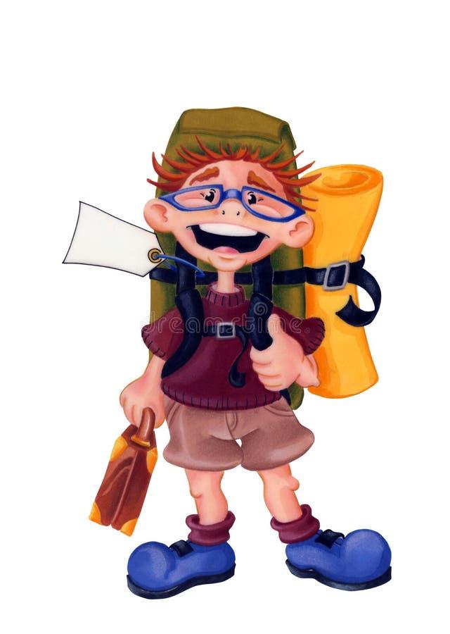 Viajero de la mochila - ejemplo - con la trayectoria de recortes libre illustration