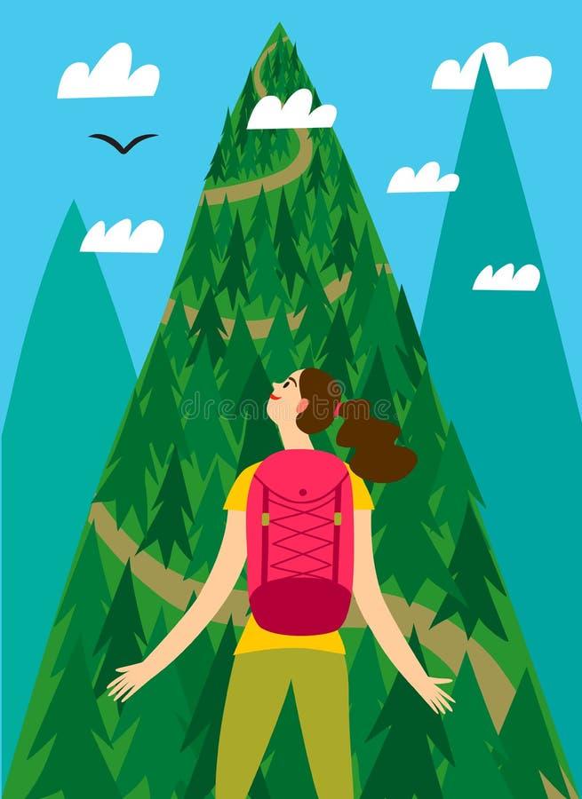 Viajero de la muchacha con una mochila grande que mira la montaña ilustración del vector