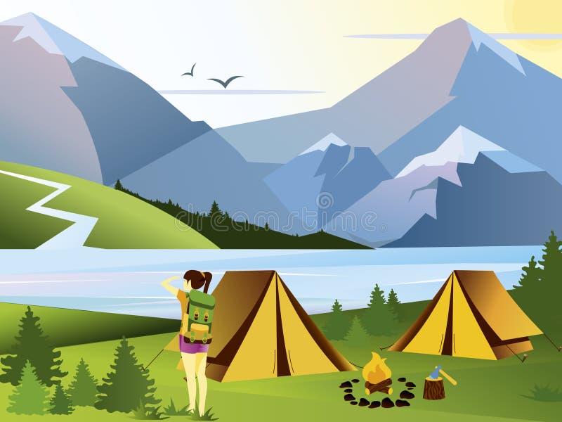 Viajero de la muchacha del ejemplo plano del vector que acampa Fondo de la naturaleza con la hierba, el bosque, las montañas y la libre illustration