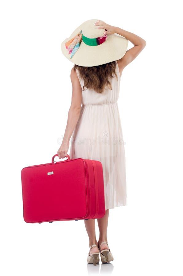 Viajero de la mujer con la maleta aislada fotos de archivo