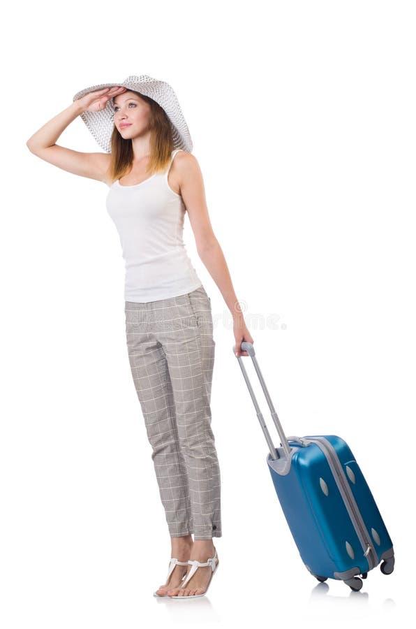 Viajero de la mujer con la maleta aislada fotografía de archivo