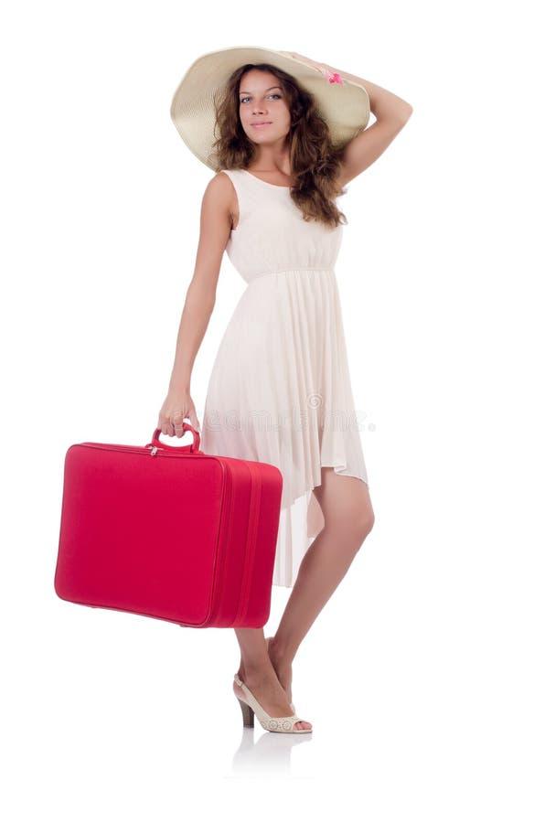Viajero de la mujer con la maleta aislada foto de archivo libre de regalías