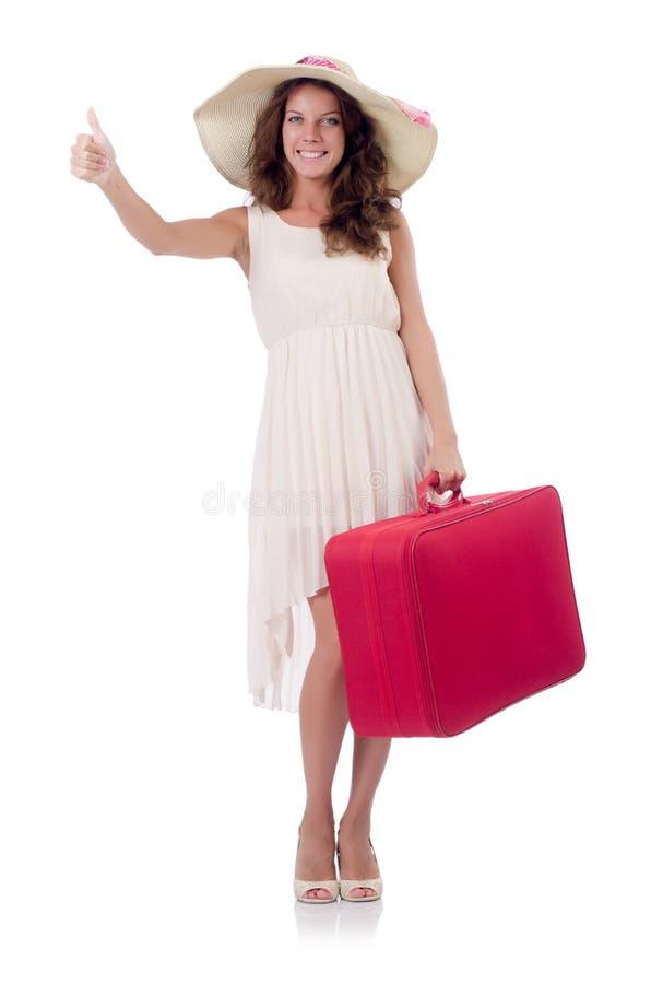 Viajero de la mujer con la maleta aislada imagen de archivo libre de regalías