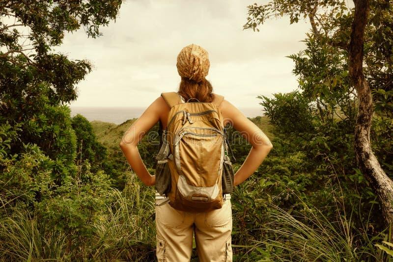 Viajero de la mujer joven con la mochila en bosque foto de archivo