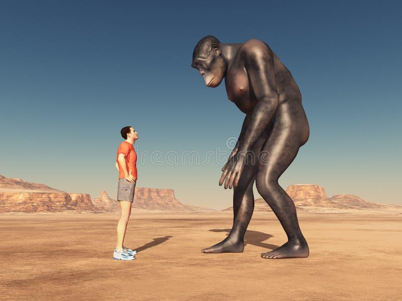 Viajero de mundo y habilis de homo ilustración del vector