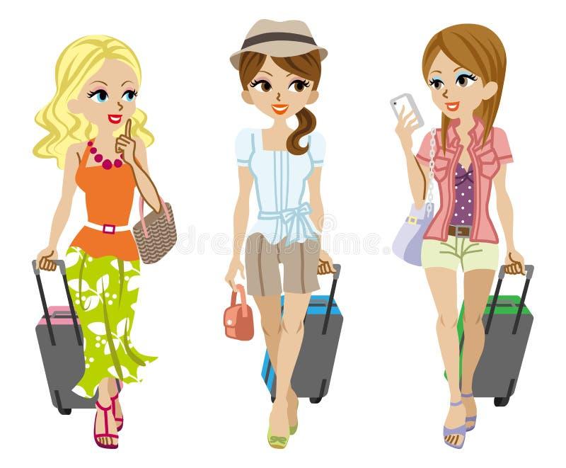 Viajero de tres muchachas, aislado ilustración del vector