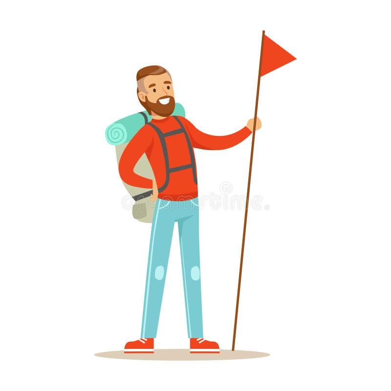 Viajero del hombre joven que se coloca con la mochila y la bandera roja holdiing con la asta de bandera larga Historieta colorida libre illustration