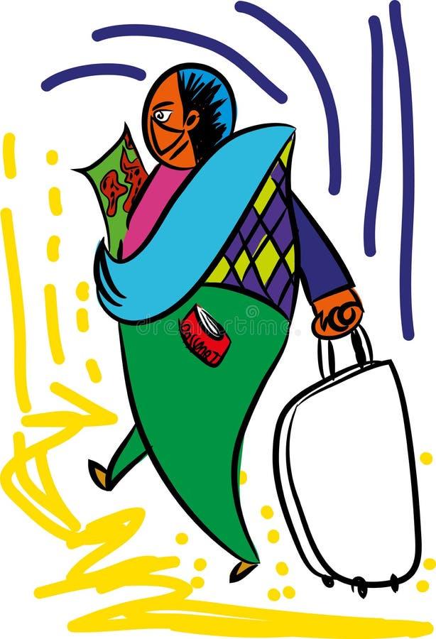 Viajero feliz con el pasaporte stock de ilustración