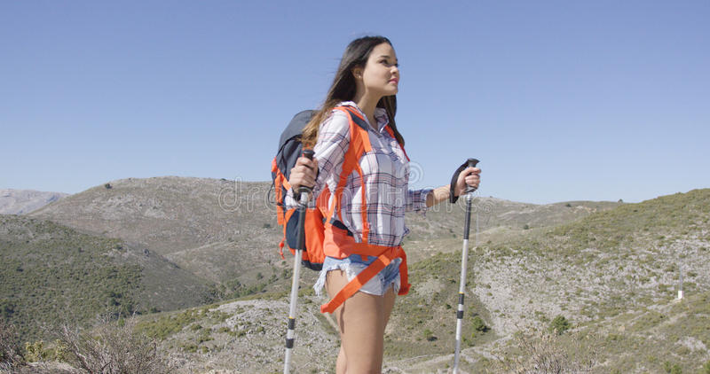 Viajero femenino atractivo con la mochila imagen de archivo