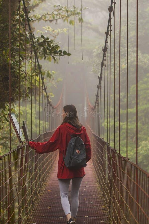 Viajero joven que camina en bosque de la nube de Monteverde con un backpak práctico de Fjallraven Kanken fotos de archivo libres de regalías