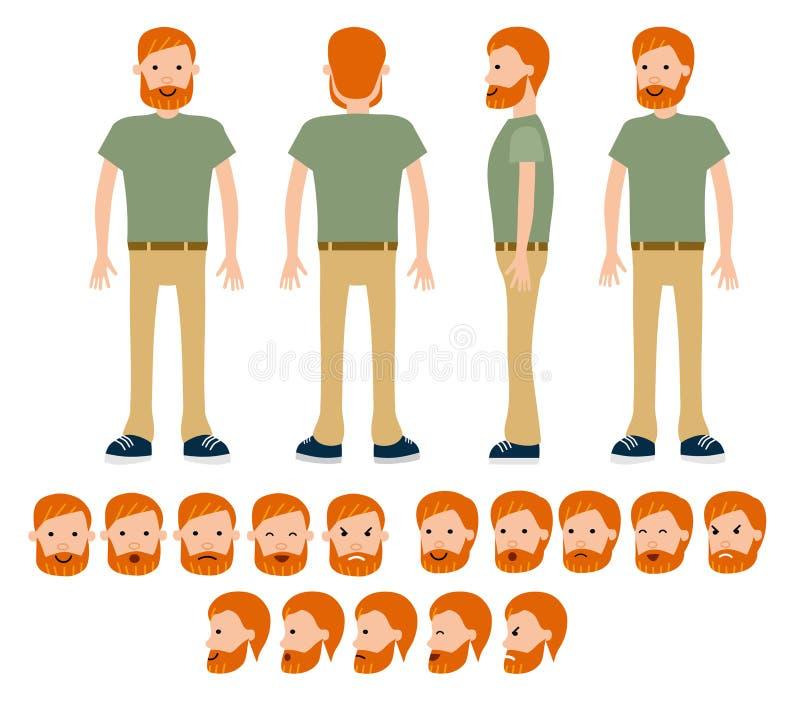 Viajero masculino de la construcción para diversas actitudes fijadas stock de ilustración