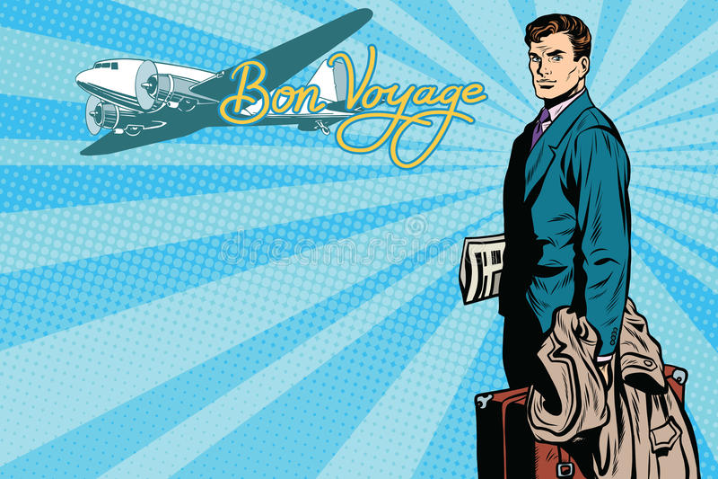 Viajero masculino del pasajero en el aeropuerto libre illustration