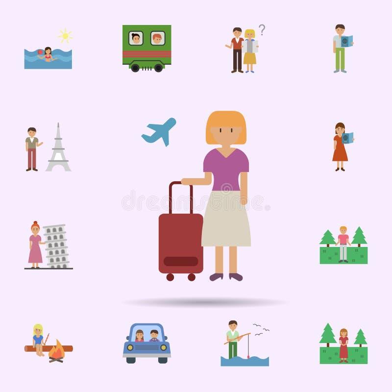 Viajero, mujer, icono plano de la historieta Sistema universal del viaje para el dise?o y el desarrollo, desarrollo de la p?gina  ilustración del vector