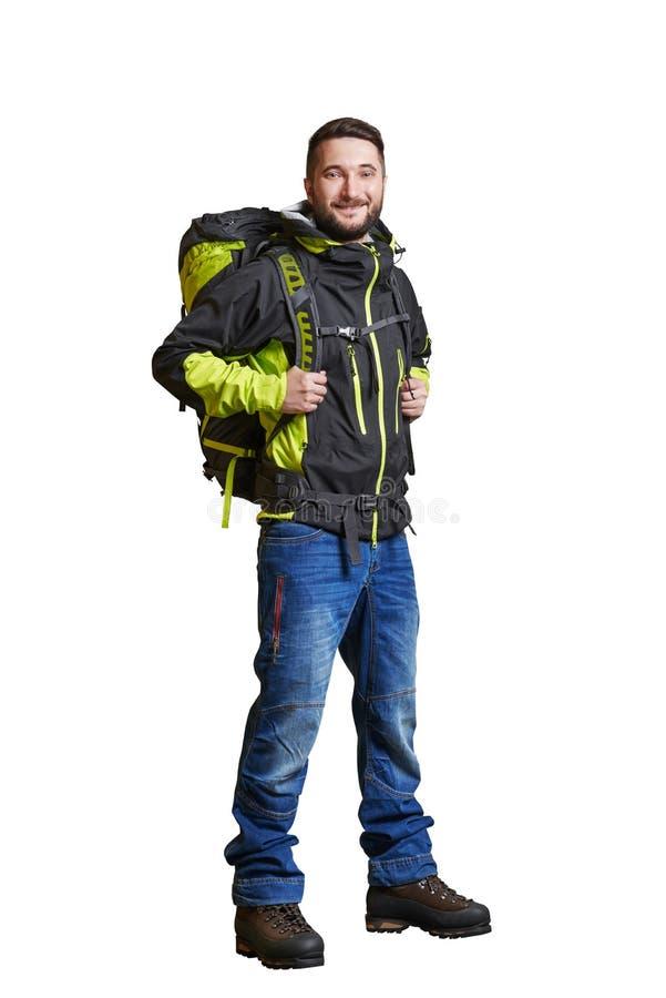 Viajero sonriente con backpacker imagen de archivo libre de regalías