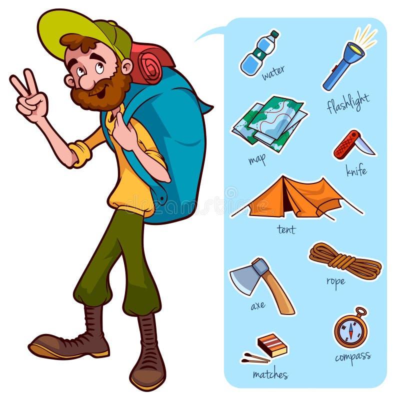 Viajero y elementos para el alza y el campo ilustración del vector