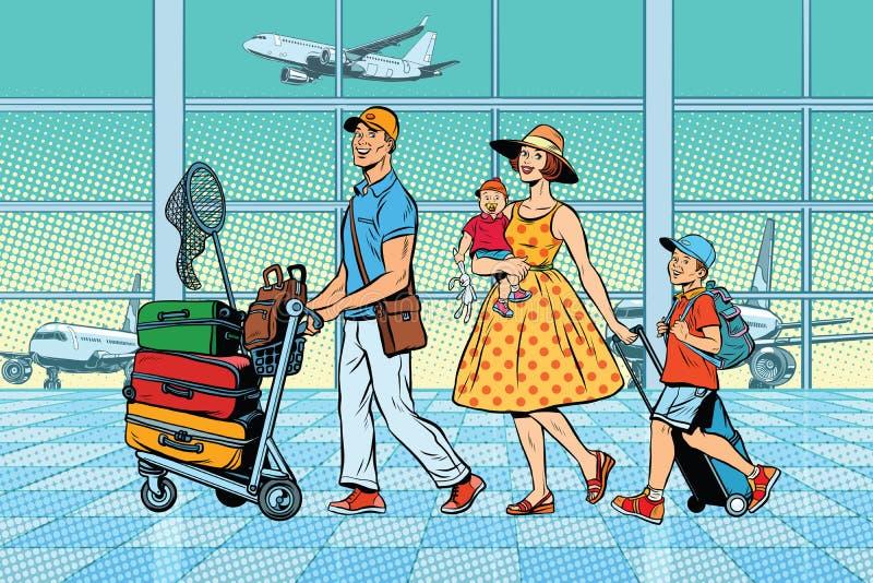 Viajeros de la familia en el aeropuerto libre illustration