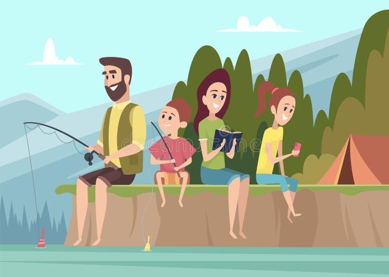 Viajeros de la familia Junte a los niños al aire libre de los exploradores con los padres que caminan el fondo de la historieta  libre illustration