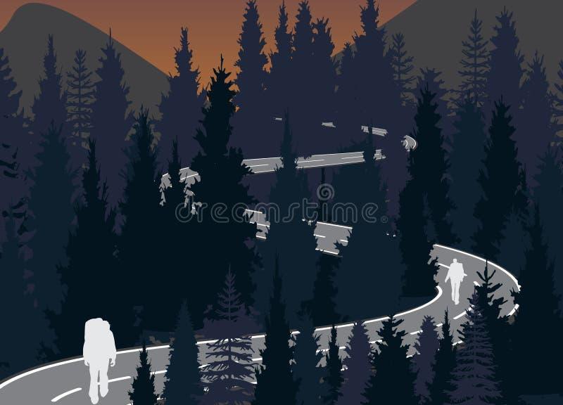 Viajeros del hombre y de las mujeres con la mochila que camina el equipo que caminan en montañas stock de ilustración