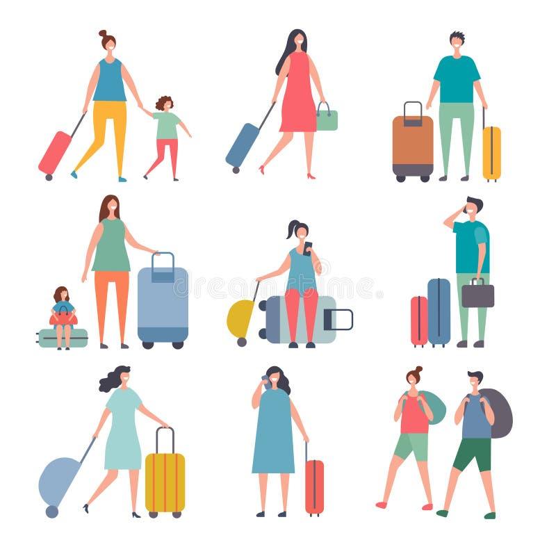Viajeros del verano Los caracteres estilizados de la gente feliz van a las vacaciones de verano ilustración del vector