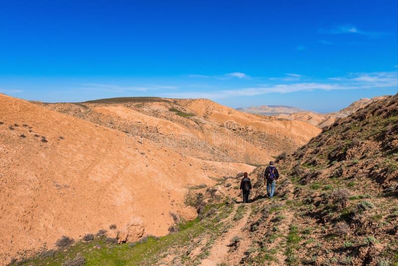 Viajeros en montañas foto de archivo