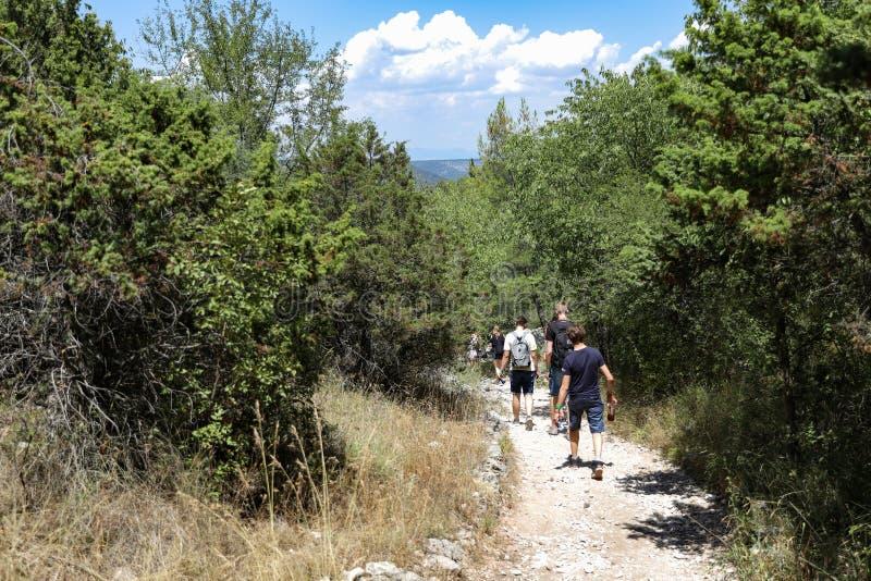 Viajeros que caminan en rastro del árbol en el parque nacional de Croacia en verano imagen de archivo libre de regalías