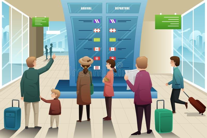 Viajeros que miran al tablero de la salida stock de ilustración