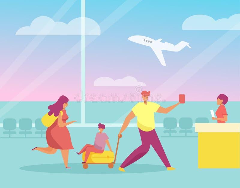 Viajes de la familia, maletas, vector del aeropuerto historieta Arte aislado ilustración del vector