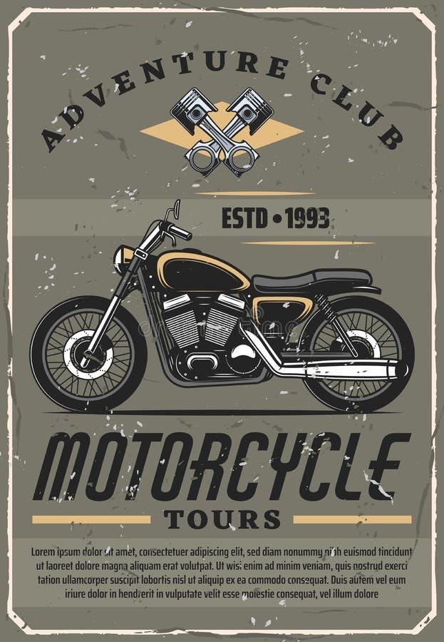 Viajes de la motocicleta, club de la aventura, vector libre illustration