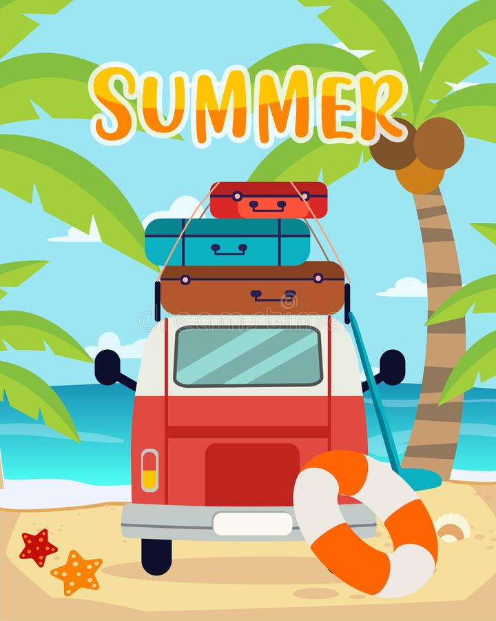 Viajes del verano, tiempo de verano, verano en la playa libre illustration