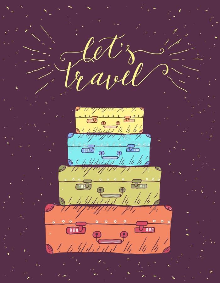 Viajes Ejemplo dibujado mano del vector para la impresión o el cartel de la camiseta con cita de las mano-letras ilustración del vector