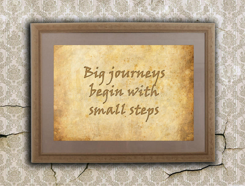 Viajes grandes, pequeños pasos stock de ilustración