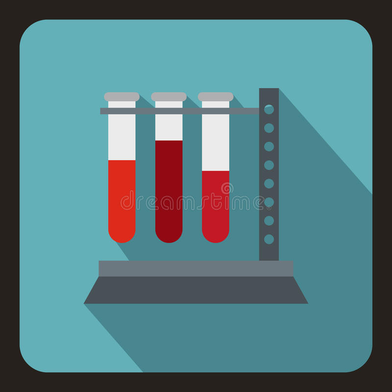 Vial for blood collection icon, flat style vector illustration