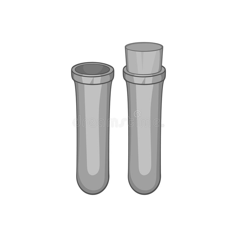 Vial for blood collection icon, monochrome style stock illustration