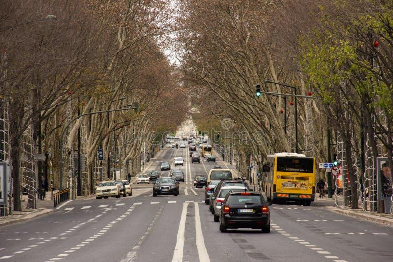 Viale del Da Libertade. Lisbona. Il Portogallo fotografie stock