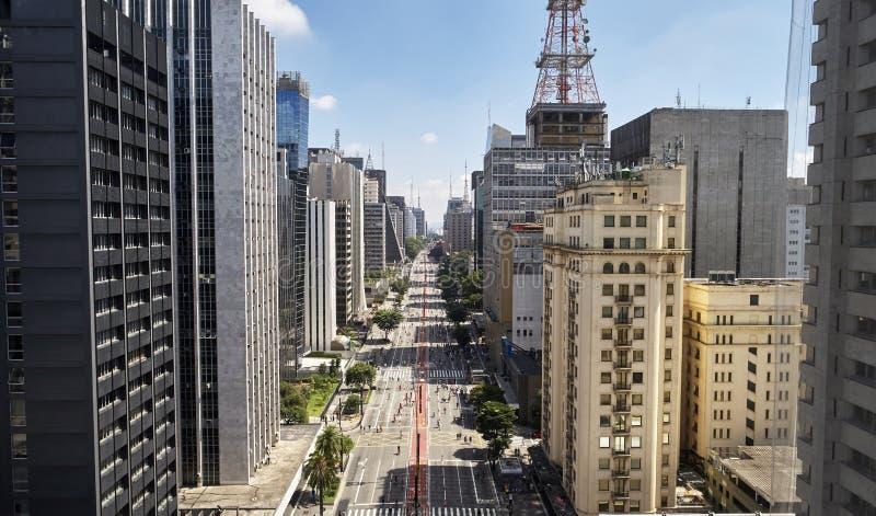 Viale di Avenida Paulista Paulista, citt? di Sao Paulo, Brasile immagini stock libere da diritti