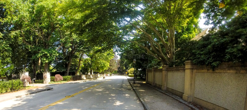 Viale di Bellevue, Newport, RI fotografia stock libera da diritti