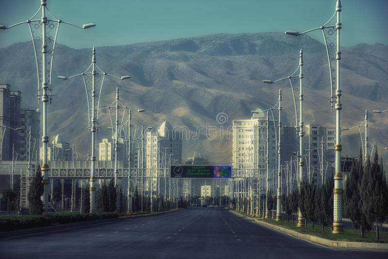 Viale di Bitarap il Turkmenistan immagini stock