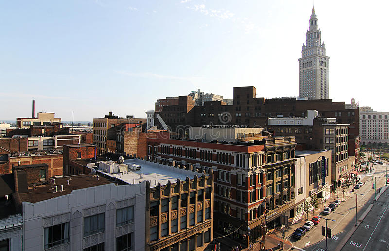 Viale di Euclide e la torre terminale, Cleveland, Ohio fotografie stock libere da diritti