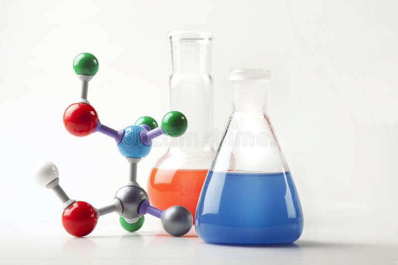 Vials with Fluid and Molecular Chain stock images