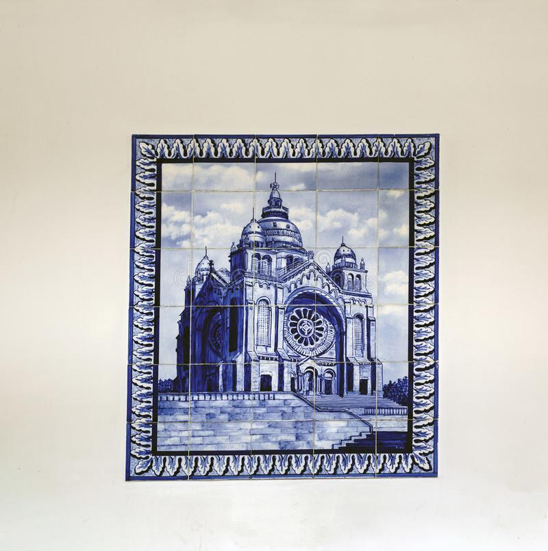 Viana do Castelo, Portugal. August 15, 2017: Tile mosaic representing the Sanctuary of Santa Luzia, fixed on the wall of the cable stock photos