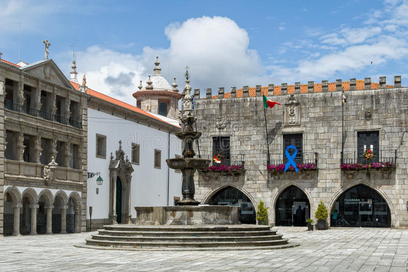 Viana do Castelo, Portugal. The Misericordia church, fountain and town hall in Republic Square, Viana do Castelo, Portugal royalty free stock photography