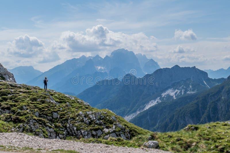 Viandante che ammira il bello paesaggio verde della montagna immagini stock