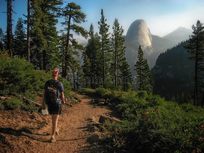 Viandante che cammina sulla traccia verso la mezza cupola, parco nazionale di Yosemite, California immagini stock