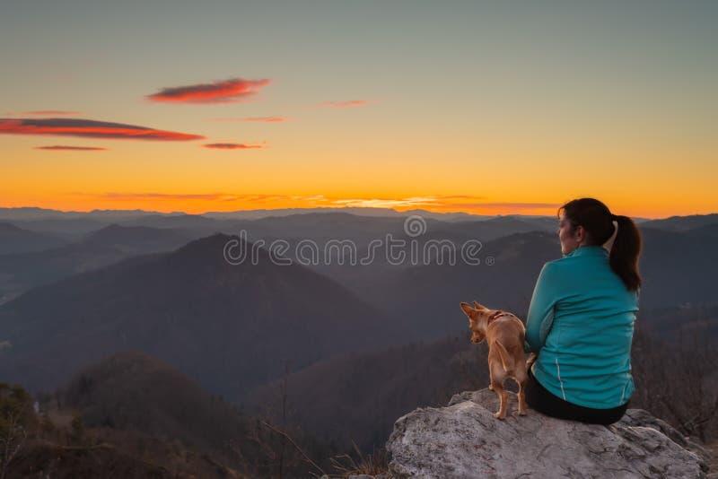 Viandante femminile che guarda il cielo di tramonto con il suo cane sopra la collina immagine stock libera da diritti