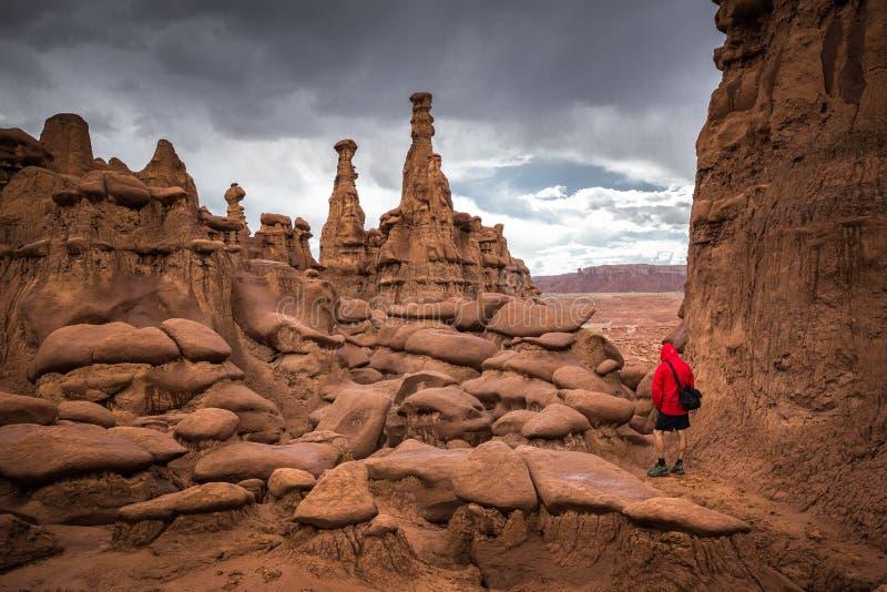 Viandante nel parco di stato della valle del folletto, Utah, U.S.A. immagine stock libera da diritti