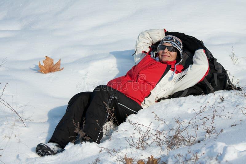 Viandante Sulla Neve Fotografie Stock Libere da Diritti