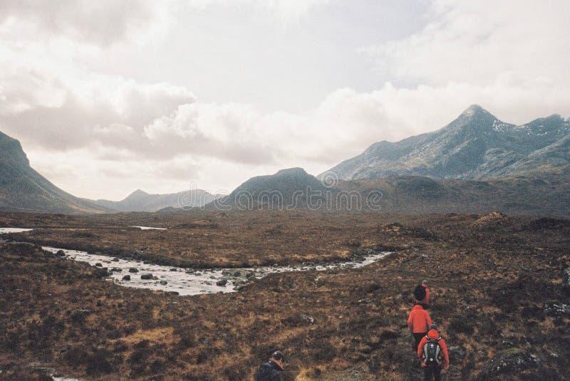 Viandanti che passano attraverso un bello campo fotografia stock libera da diritti