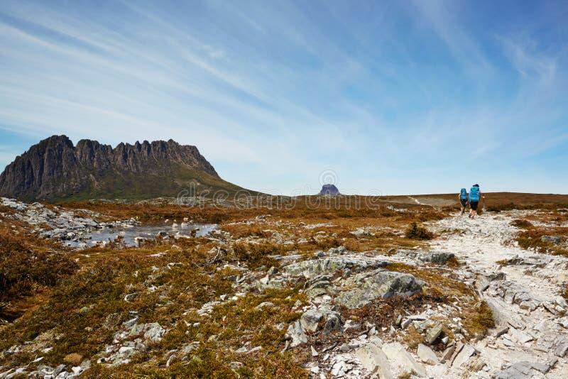 Viandanti esposte al vento sulla traccia terrestre desolata, Tasmania fotografie stock libere da diritti