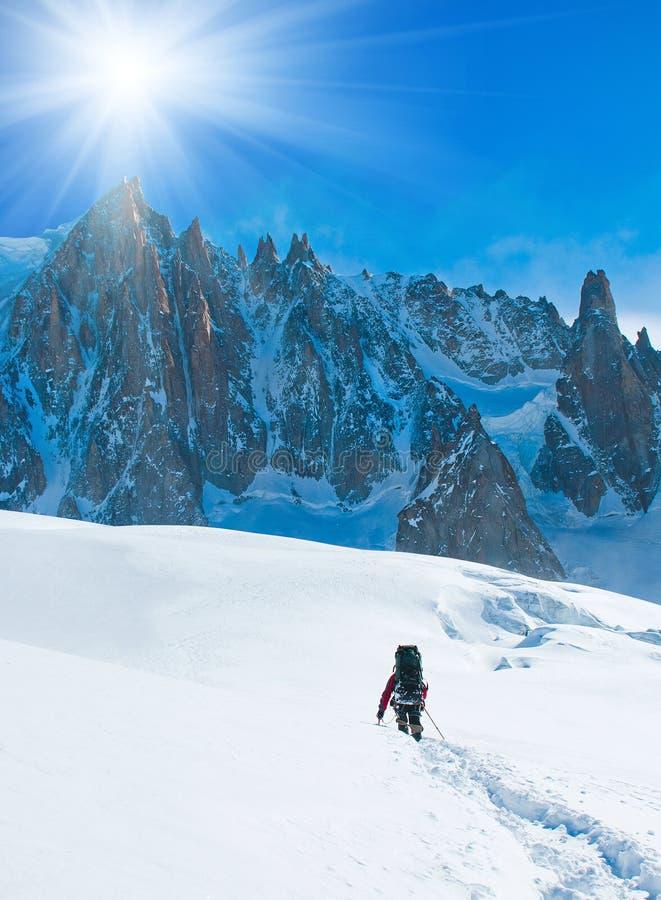 Viandanti in montagne di inverno fotografia stock libera da diritti
